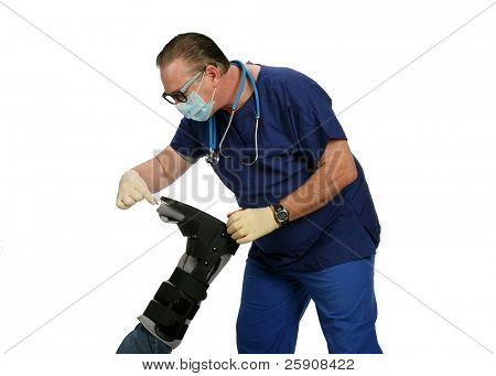 A handsome and kind doctor in a mask puts a pill in the foot of his patient for no apparent reason