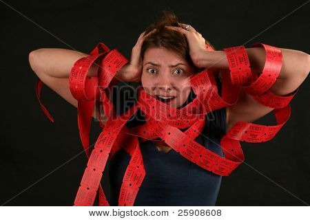 """a girl expresses frustration with the concept of being """"Caught up in Red Tape"""""""