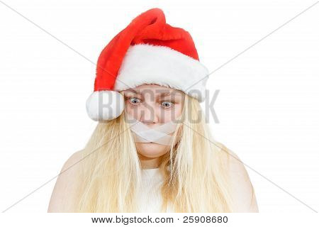 Crazy Girl In A Santa Hat