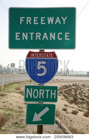 """Freeway entrance"" ""interstate 5"" ""north bound"" sign in central california"""