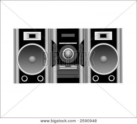 Cd Player And Speakers.Eps