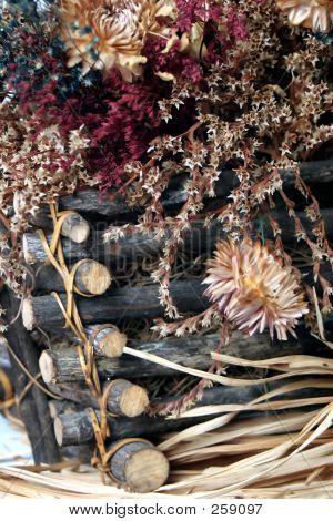 Dried Fall Flowers Basket Close Up 3 F