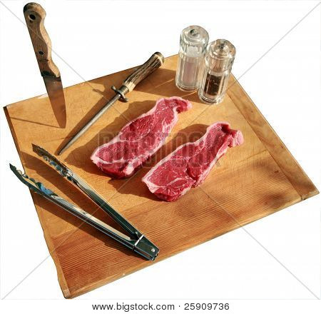 Beef Loin New York Steak isolated on a cutting board