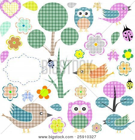 Set of nature textile stickers
