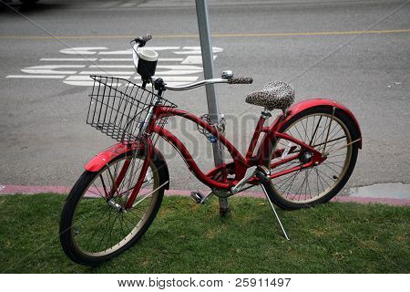 a pretty red bicycle with a leopardprint seat