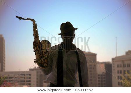 a cool cat takes a quick break from playing his sax in these moody images