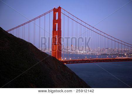 "time laps aka ""bulb exposure"" of san franscisco and the golden gate bridge at dusk"