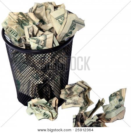isolated on white trash can full of american cash
