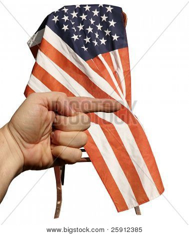 a human hand points to the right infront of an american flag while isolated on white