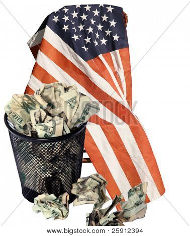 a trash can full of cash sits infront of an american flag while isolated on white