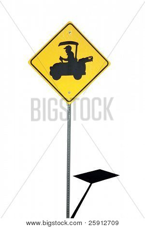 golf cart crossing sign isolated on white