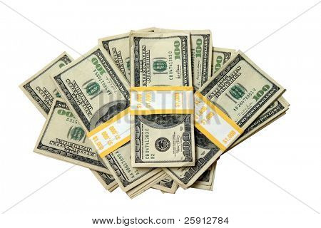 ten thousand dollars cash in one thousand dollar money wrappers isolated on white