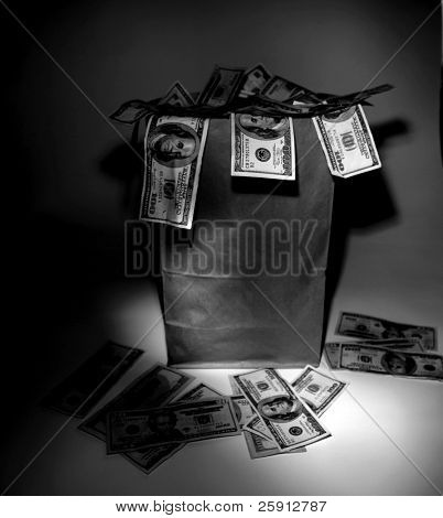 a Generic brown paper bag over flowing with Money in black and white