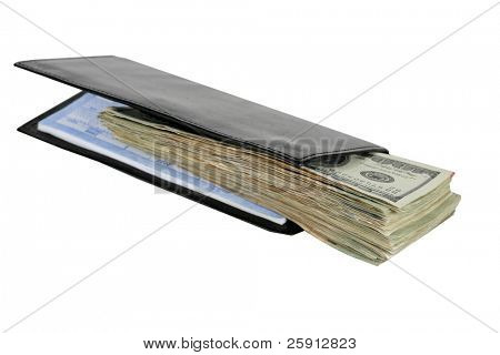 cash in a check book isolated on white
