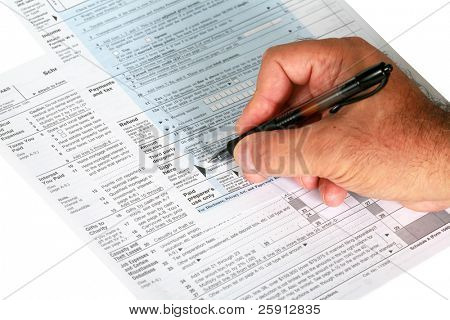 a person signs us tax forums isolated on white