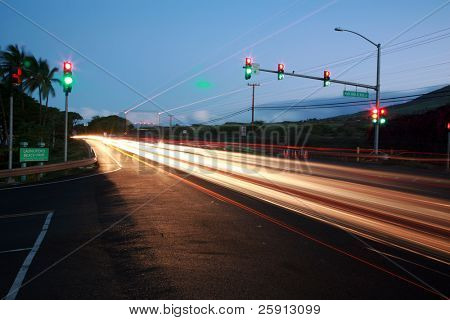 "time laps aka bulb exposure of the ""Honoapi'ilani Highway"" on maui hawaii"