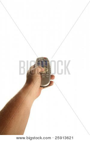 a human hand holds a tv remote control isolated on white with room for text