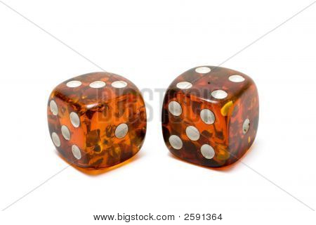 Two Semitransparent Dice Isolated With Shadows
