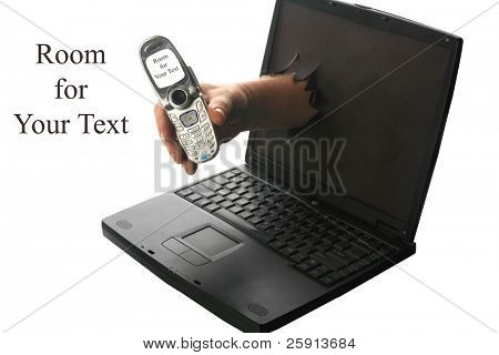 Online phone concept a human hand reaches though a computer screen and hands the user a cell phone with room for text