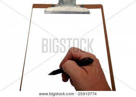 a human hand prepares to write on a clipboard with room for your text