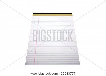 lined note pad isolated on white with room for your text