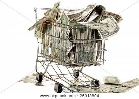 grocery cart full of cash isolated on white