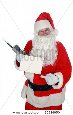 "santa holds a blank sign and a 1980s era ""brick"" cell phone isolated on white  with room for your text"