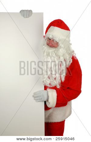 """santa claus holds a blank sign  """"isolated on white  with room for your text"""