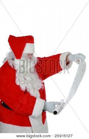 portrait of Santa Claus reading from his list isolated on white with room for your text