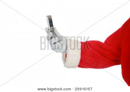 Santa Claus holds a cell phone  isolated on white  with room for your text