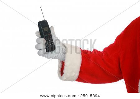 Santa holds a cell phone isolated on white room for your text