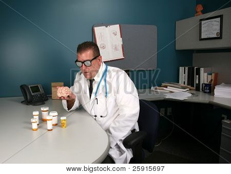 a doctor examines a human brain with his x-ray glasses