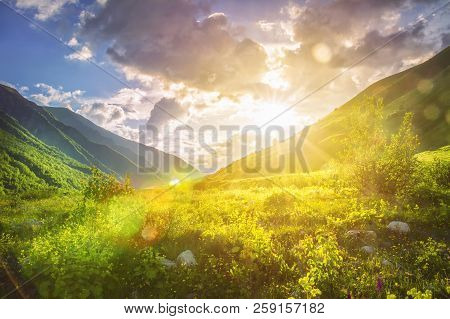 poster of Sunny Mountains Landscape. Mountain Range And Yellow Sunlight On Grassy Hills. Amazing Sunset In Hig