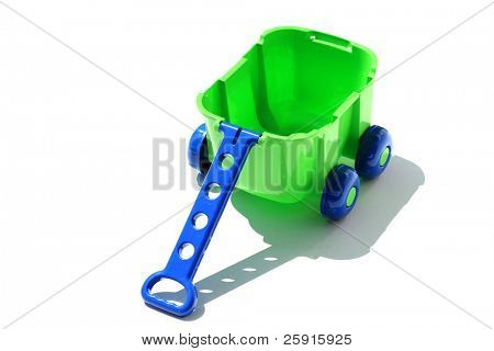 """green and blue plastic childrens wagon """"isolated on white"""""""