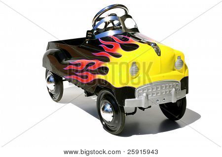 "childs generic metal pedal car ""isolated on white"""
