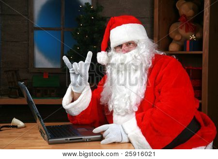 Santa Claus flashes the