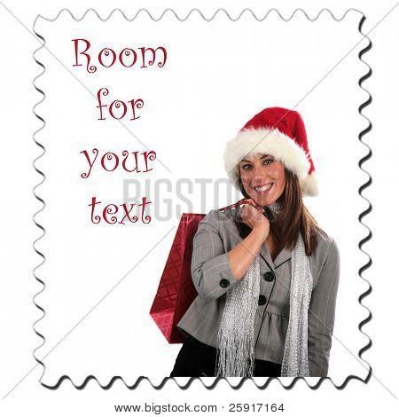 uma jovem vai selo com espaço para seu texto isolado no branco as compras de Natal