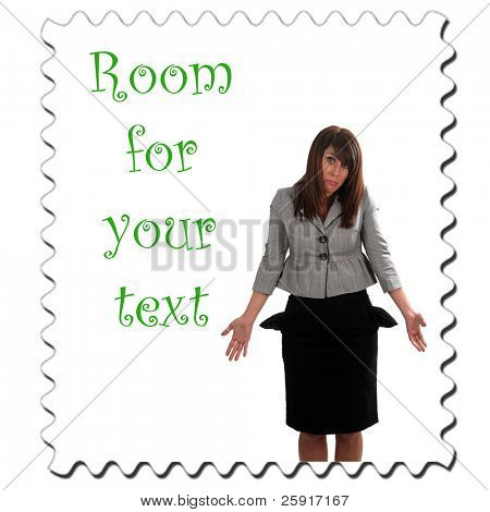 a young woman is broke and has no money, isolated on white, with room for your text