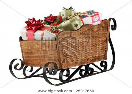 "a ""santa sleigh"" filled with presents ""isolated on white"" with ""room for text"""