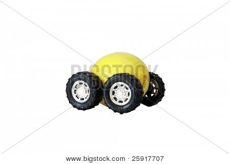 "generic truck wheels on a yellow lemon represents the catch phrase ""this car is a Lemon"" ""isolated on white"" with room for your text"