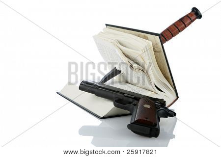 book with a dagger sticking through it and a hand gun isolated on white, with room for your text, represents murder mystery, who done it, and true crime books
