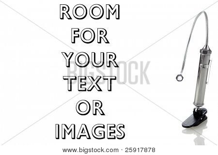 metal goose neck flashlight isolated on white with room for your text