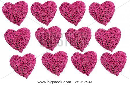 Rose Hearts pattern for Valenties backgrounds isolated on white