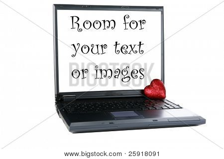 "a laptop computer with a ""Valentines day"" heart isolated on white with room for your text or images, represents Love, Romance, internet dating and more"