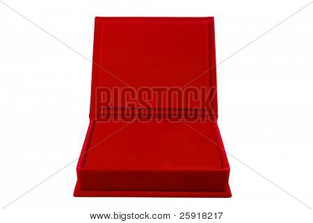a open red velvet box of chocolates, isolated on white with room for your text or images. Perfect for Valentines Day