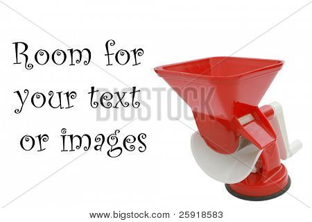 meat grinder isolated on white with room for your text or images