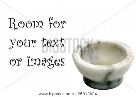 marble mortar and pestle isolated on white with room for your text or images