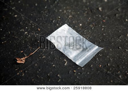 """evidence of drug abuse, a small empty baggie on the ground, probably contained Methamphetamine aka speed or crack aka """"rock cocaine"""""""