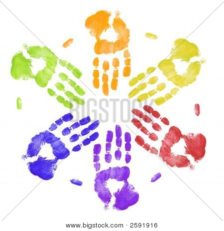 Multi Colored Hands Working Together