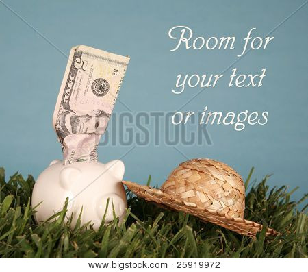 Piggy bank in green grass with a blue background with money sticking out and room for your text or images